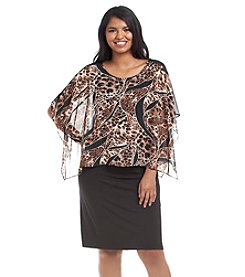 Connected® Plus Size Animal Patterned Overlay Dress