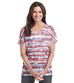 Breckenridge® V Neck Paper Print Knit Top