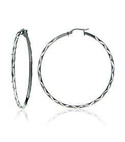 Designs by FMC Sterling Silver Diamond Cut Hoop Earrings