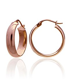 Designs by FMC Rose Gold Plate over Sterling Silver Polished Click-Top Hoop Earrings