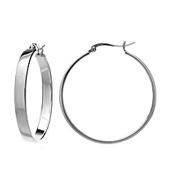 Designs by FMC Sterling Silver Polished Flat Click-Top Hoop Earrings