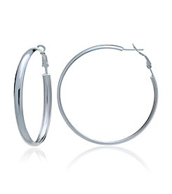 Designs by FMC Sterling Silver Polished Silver Clutchless Hoop Earrings