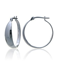 Designs by FMC Sterling Silver Tapered Polished Click-Top Hoop Earrings