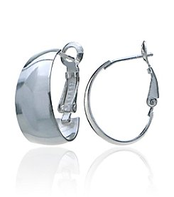 Designs by FMC Sterling Silver Clutchless Oval Hoop Earrings