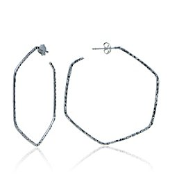 Designs by FMC Sterling Silver Hammered Wire Hexagon Posted Hoop Earrings