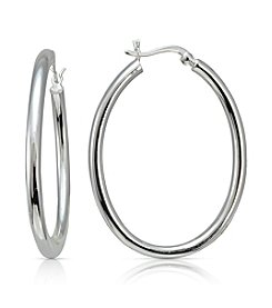 Designs by FMC Sterling Silver Polished Oval Click-Top Hoop Earrings
