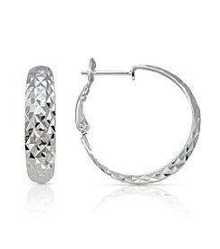 Designs by FMC Sterling Silver Diamond Cut Clutchless Hoop Earrings