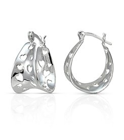 Designs by FMC Sterling Silver Heart Cut-Out Polished Click-Top Hoop Earrings