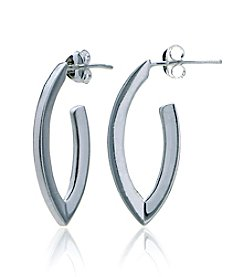 Designs by FMC Sterling Silver Geometric Oval Posted Hoop Earrings