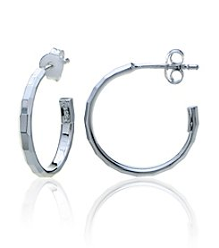 Designs by FMC Sterling Silver Small Hammered Posted Hoop Earrings
