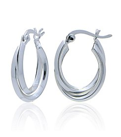 Designs by FMC Sterling Silver Twist Click-Top Hoop Earrings