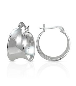 Designs by FMC Sterling Silver Cigar Band Polished Click-Top Hoop Earrings