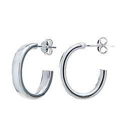 Designs by FMC Sterling Silver Polished Oval Posted Hoop Earrings