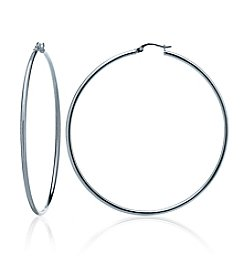 Designs by FMC Sterling Silver Thin Polished Click-Top Hoop Earrings