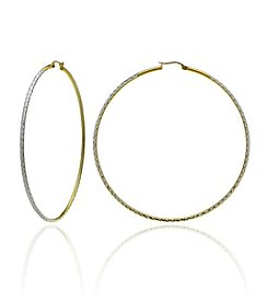Designs by FMC Two-Tone Diamond Cut Hoop Earrings