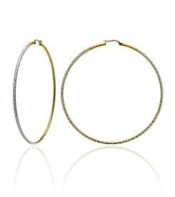 Designs by FMC Two-Tone Diamond Cut Hoop Earrings