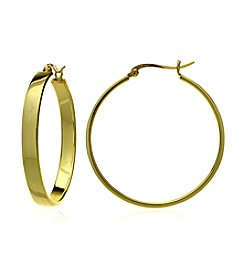 Designs by FMC 18K Gold Plate over Sterling Silver Polished Click-Top Hoop Earrings