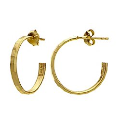 Designs by FMC 18K Gold Plate over Sterling Silver Small Hammered Posted Hoop Earrings