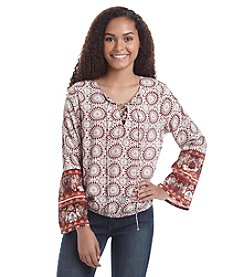 Hippie Laundry Medallion Print Peasant Top