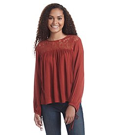 Hippie Laundry Lace Yoke Peasant Top