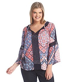 Jessica Simpson Plus Size Alaya Print Peasant Top
