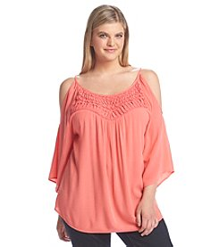 Eyeshadow® Plus Size Cold Shoulder Crochet Top