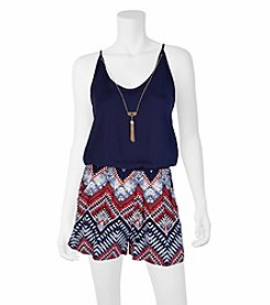 A. Byer Boarder Printed Romper With Necklace