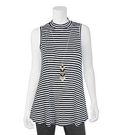 A. Byer Striped Tunic With Necklace