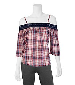 A. Byer Plaid Off The Shoulder Top