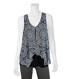 A. Byer Medallion Printed Top With Necklace