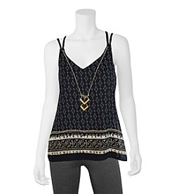 A. Byer Boarder Printed Tank With Necklace