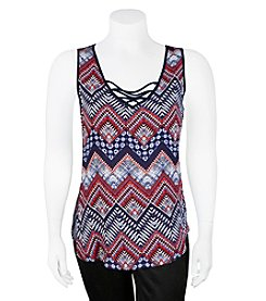 A. Byer Plus Size Lace Up Printed Tank