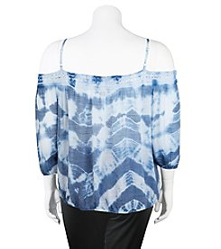 A. Byer Plus Size Tie-Dye Off The Shoulder Top