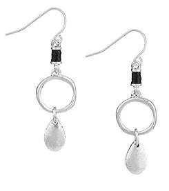The Sak® Silvertone Open Ring Double Drop Earrings