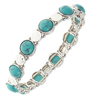 Nine West Vintage America Collection® Silvertone Turquoise Stretch Bracelet