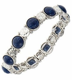 Nine West Vintage America Collection® Silvertone And Denim Stretch Bracelet
