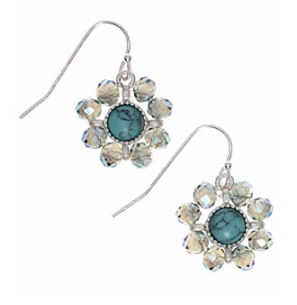 Nine West Vintage America Collection® Silvertone Turquoise And Opal Beaded Drop Earrings plus size,  plus size fashion plus size appare