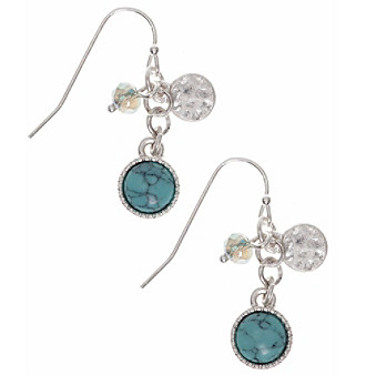 Nine West Vintage America Collection® Silvertone Turquoise And Opal Linear Shaky Earrings plus size,  plus size fashion plus size appare
