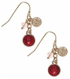 Nine West Vintage America Collection® Goldtone And Coral Linear Shaky Earrings