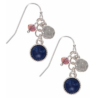 Nine West Vintage America Collection® Silvertone And Denim Linear Shaky Earrings plus size,  plus size fashion plus size appare