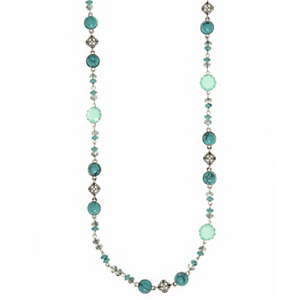 Nine West Vintage America Collection® Silvertone And Turquoise Strand Necklace