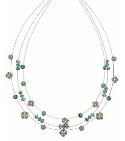 Nine West Vintage America Collection® Silvertone And Turquoise Illusion Necklace