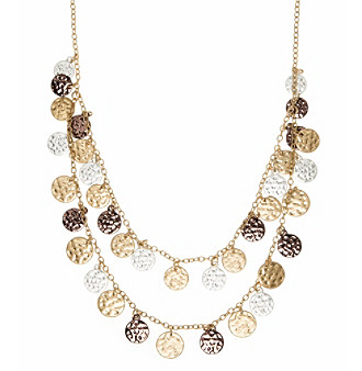 Nine West Vintage America Collection® Tri Tone Two Row Shaky Necklace