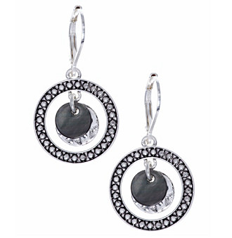 Nine West Vintage America Collection® Silvertone And Black Orbital Drop Earrings