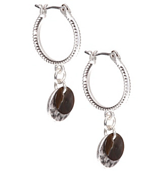 Nine West Vintage America Collection® Silvertone And Brown Small Drop Hoop Earrings plus size,  plus size fashion plus size appare