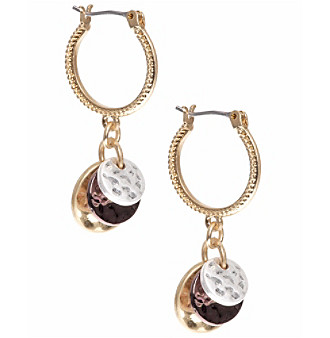 Nine West Vintage America Collection® Tri Tone Small Drop Hoop Earrings plus size,  plus size fashion plus size appare