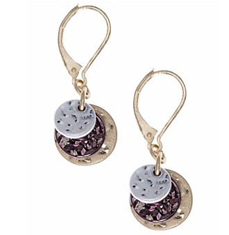 Nine West Vintage America Collection® Tri Tone Triple Disc Drop Earrings plus size,  plus size fashion plus size appare