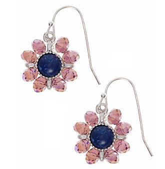 Nine West Vintage America Collection® Silvertone And Denim Beaded Drop Earrings plus size,  plus size fashion plus size appare