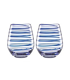 kate spade new york® Charlotte Set Of 2 Stemless Wine Glasses