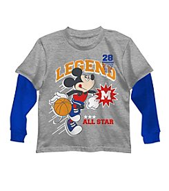 Disney® Boys' 4-7 Long Sleeve Layered Mickey Mouse® The Legend Tee